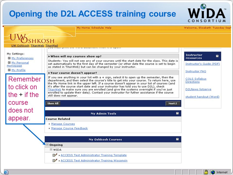 Opening the D2L ACCESS training course