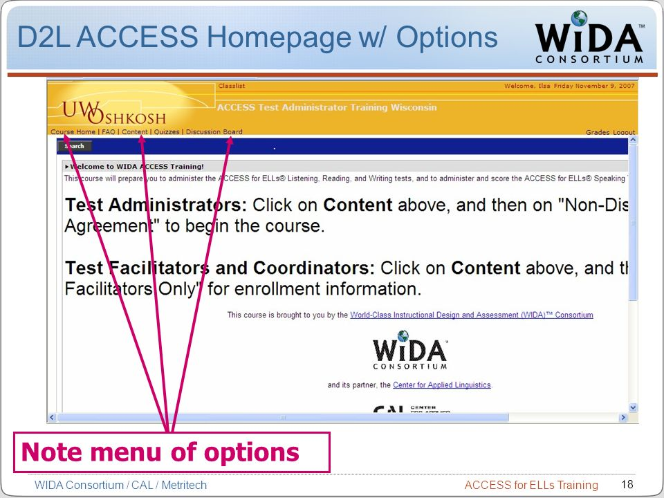 D2L ACCESS Homepage w/ Options