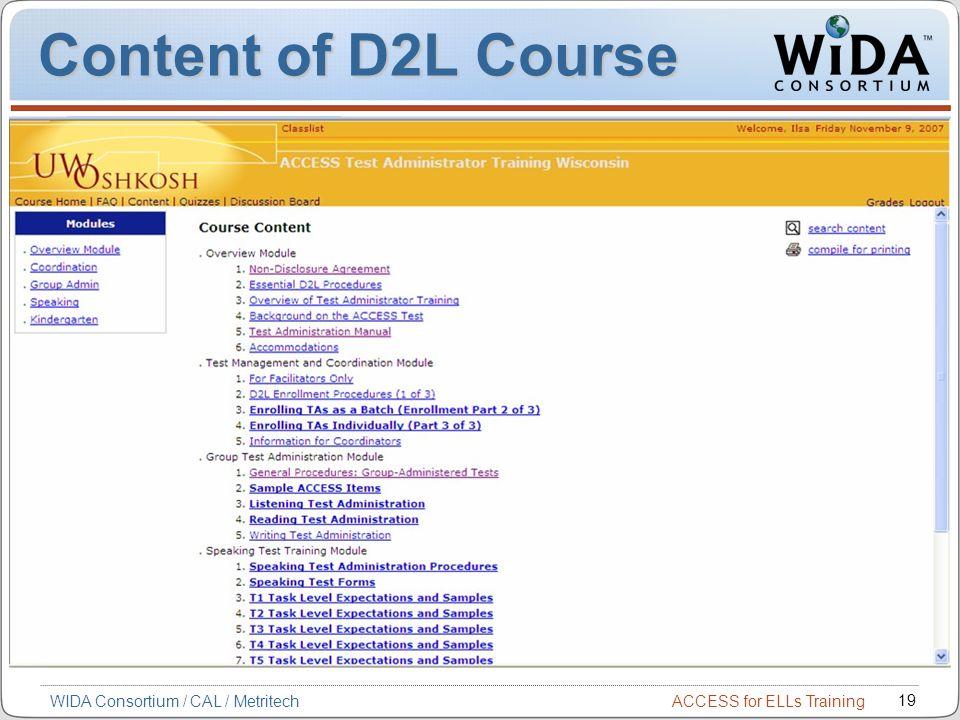 Content of D2L Course WIDA Consortium / CAL / Metritech