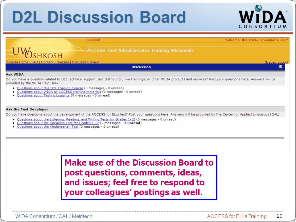 D2L Discussion Board