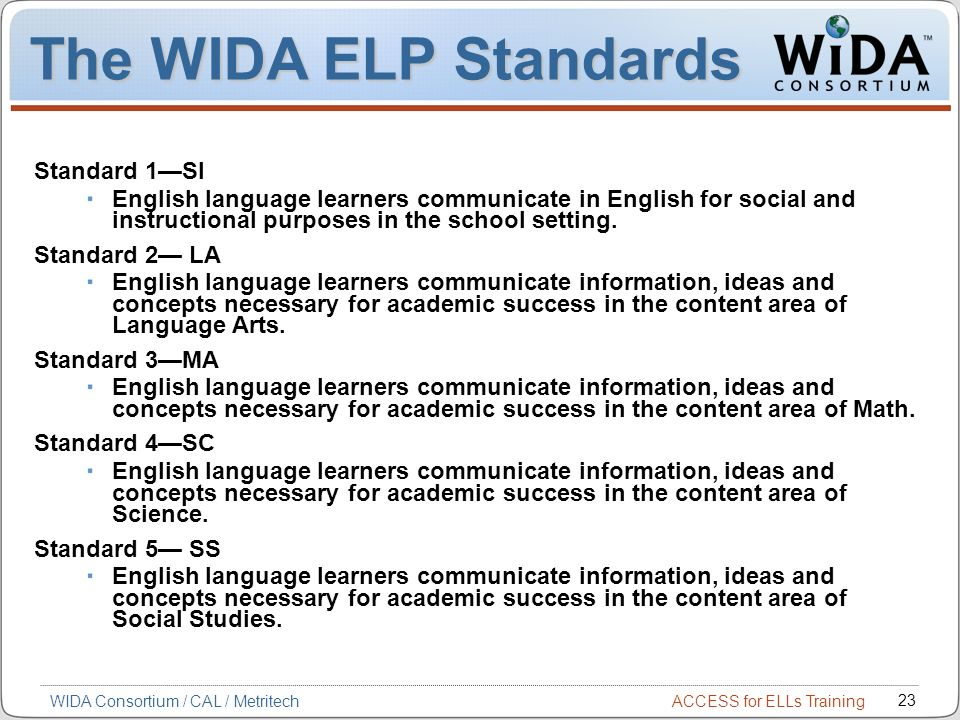 The WIDA ELP Standards Standard 1—SI