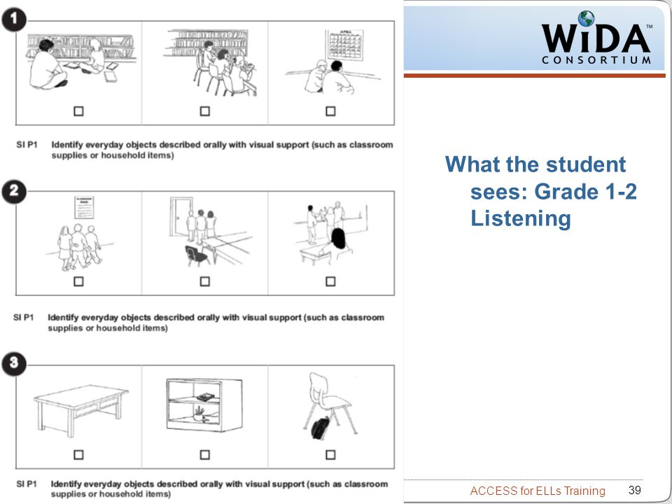 What the student sees: Grade 1-2 Listening