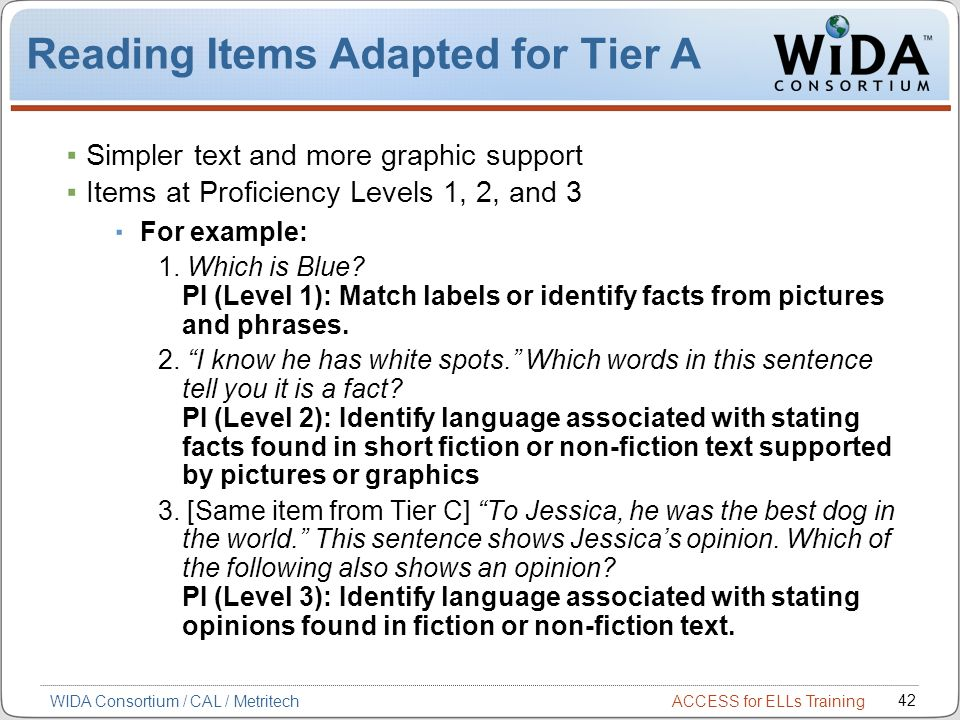 Reading Items Adapted for Tier A