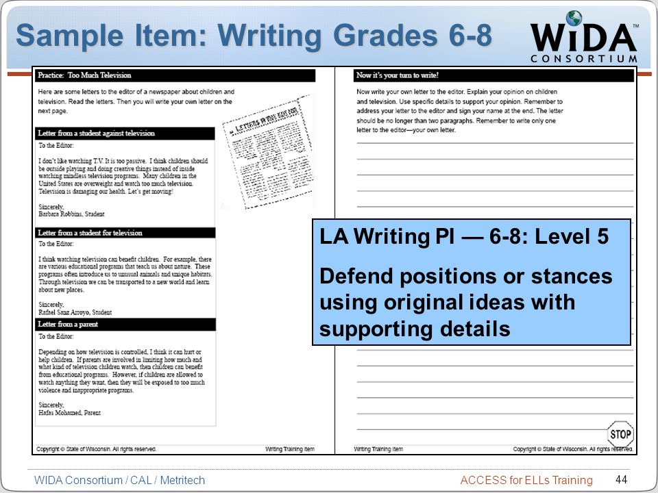 Sample Item: Writing Grades 6-8