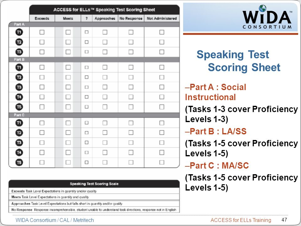 Speaking Test Scoring Sheet