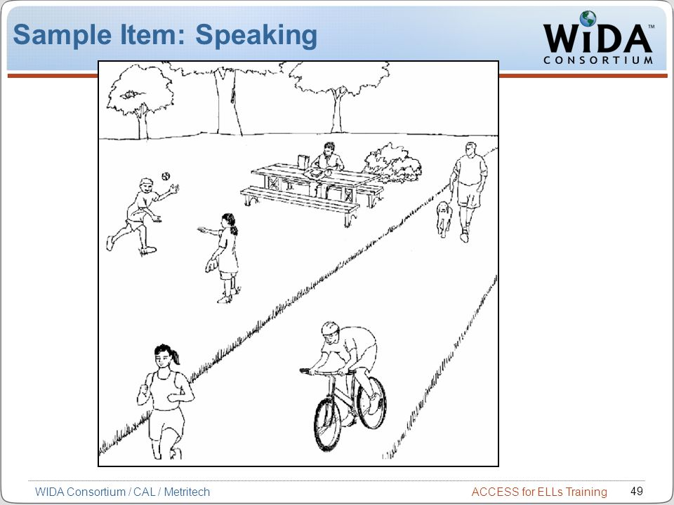 Sample Item: Speaking WIDA Consortium / CAL / Metritech 49