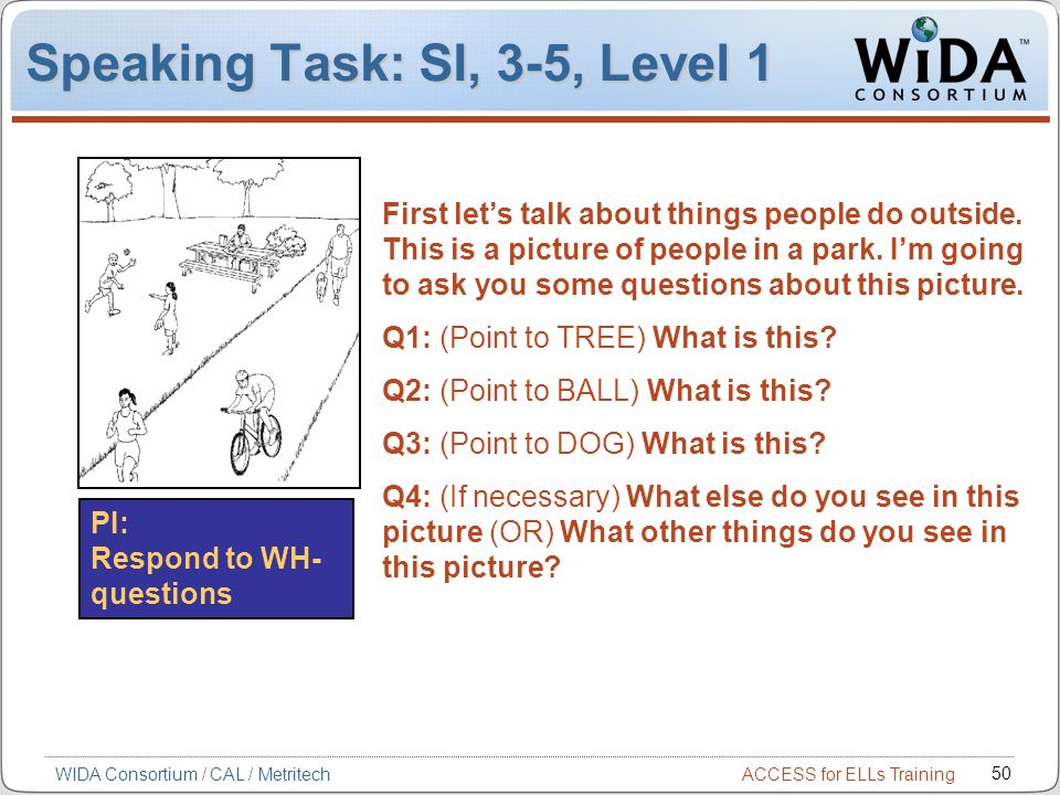 Speaking Task: SI, 3-5, Level 1