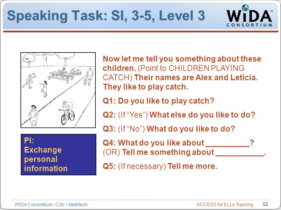 Speaking Task: SI, 3-5, Level 3