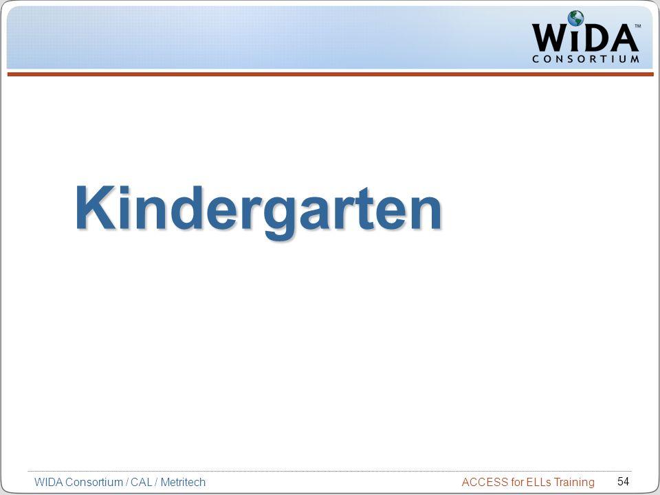 Kindergarten WIDA Consortium / CAL / Metritech 54