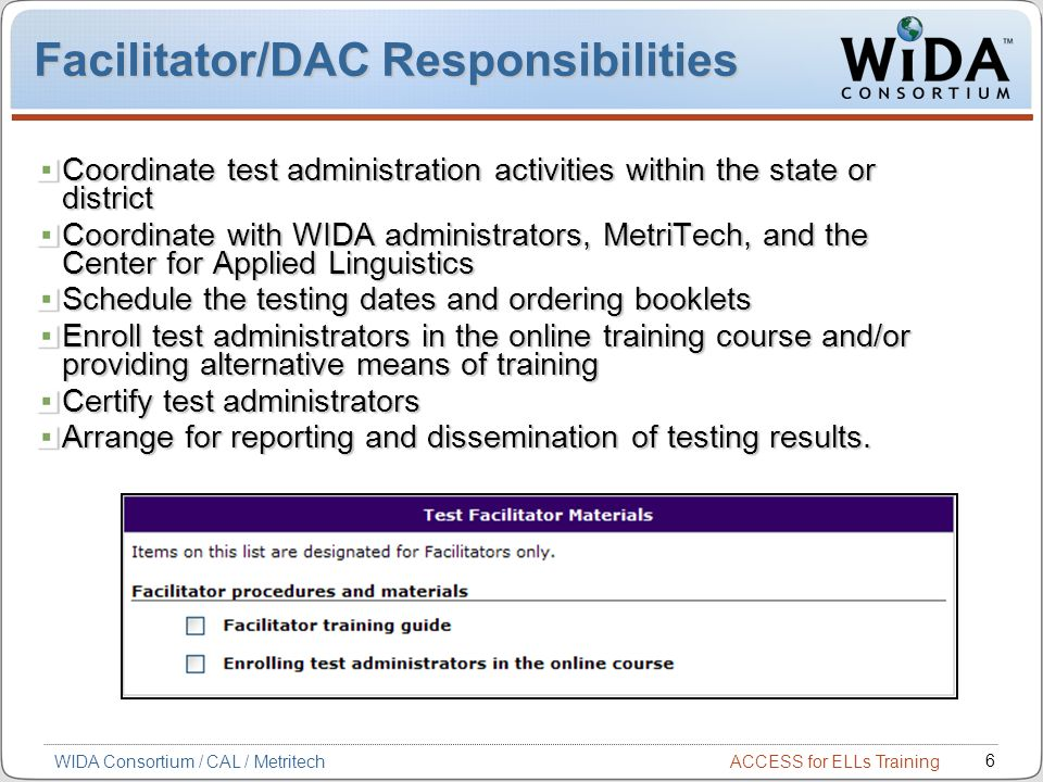 Facilitator/DAC Responsibilities