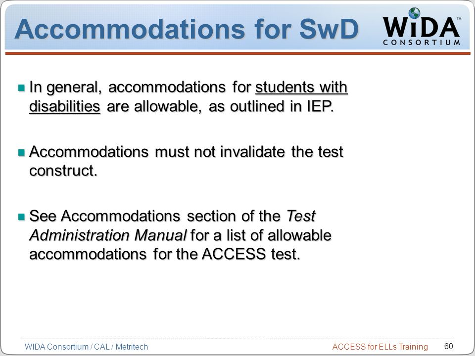 Accommodations for SwD