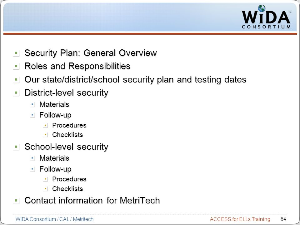 Security Plan: General Overview Roles and Responsibilities