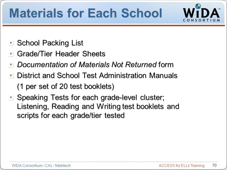 Materials for Each School