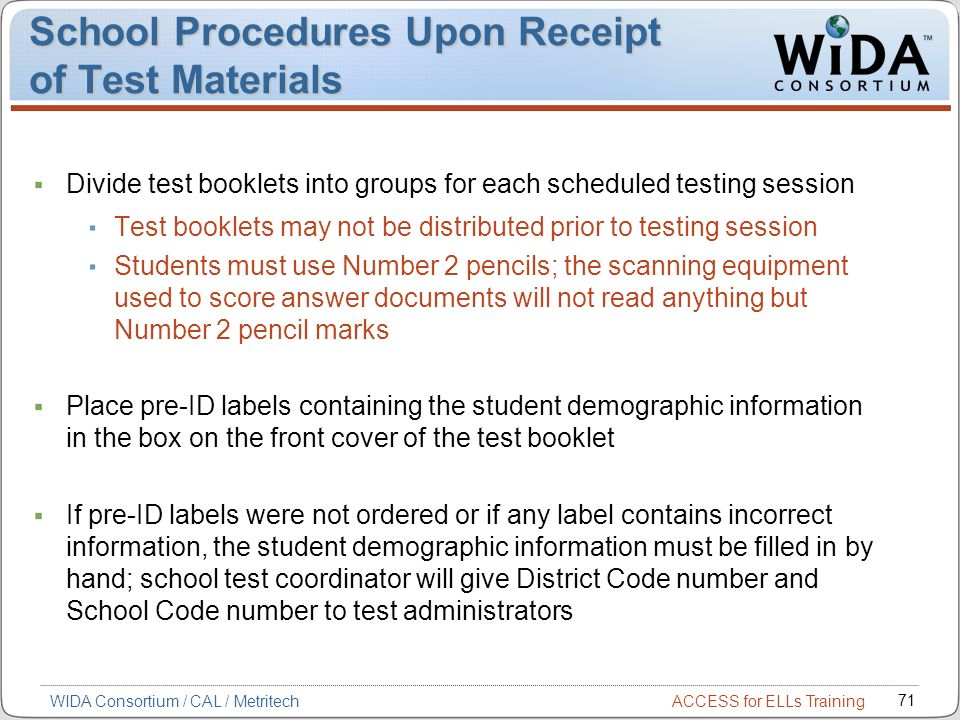 School Procedures Upon Receipt of Test Materials