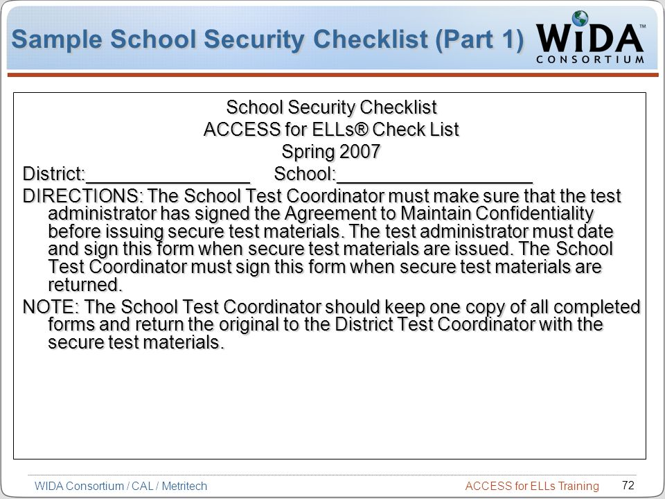 Sample School Security Checklist (Part 1)