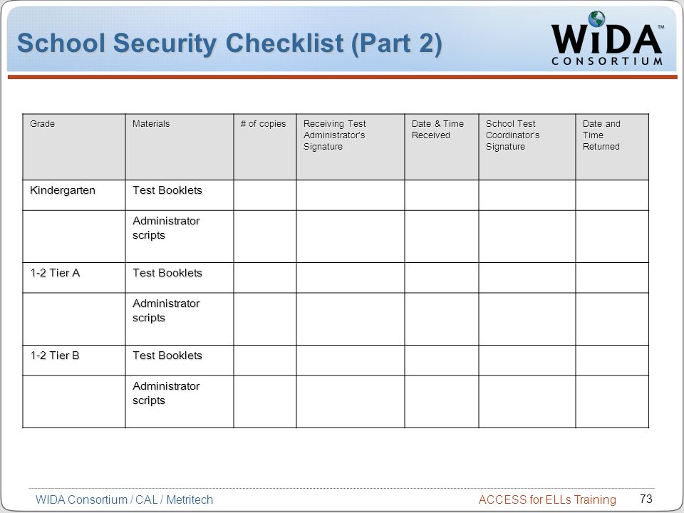School Security Checklist (Part 2)