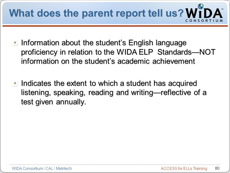 What does the parent report tell us