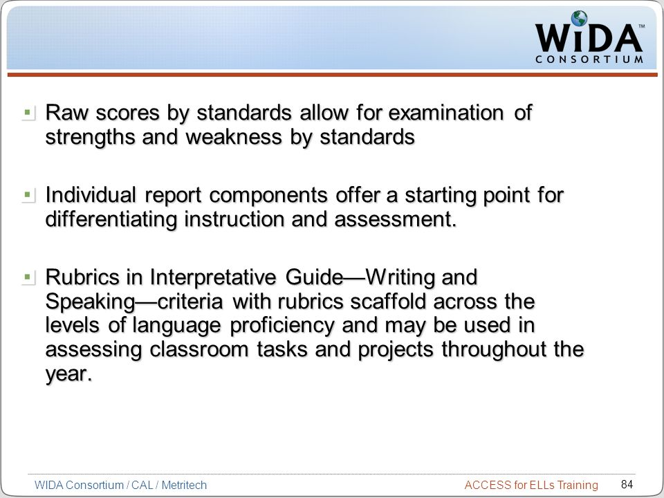 Raw scores by standards allow for examination of strengths and weakness by standards