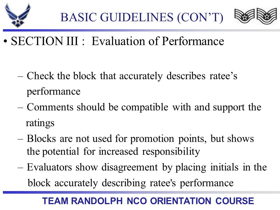 BASIC GUIDELINES (CON'T)