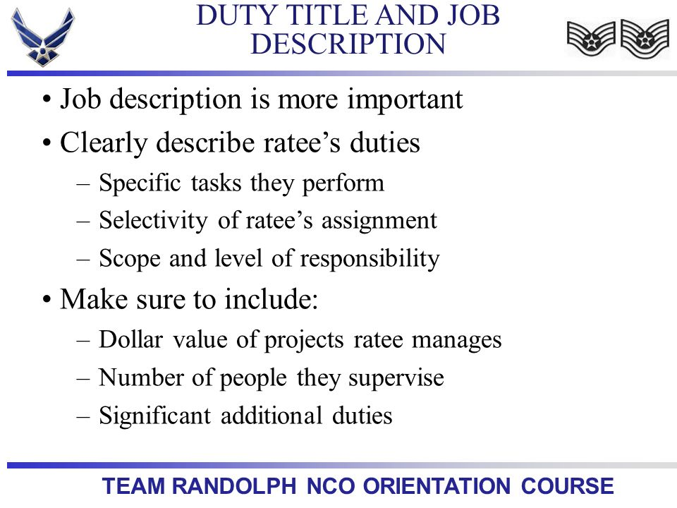 DUTY TITLE AND JOB DESCRIPTION