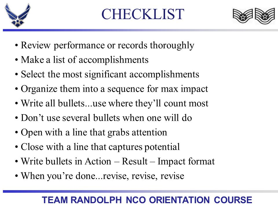 CHECKLIST Review performance or records thoroughly