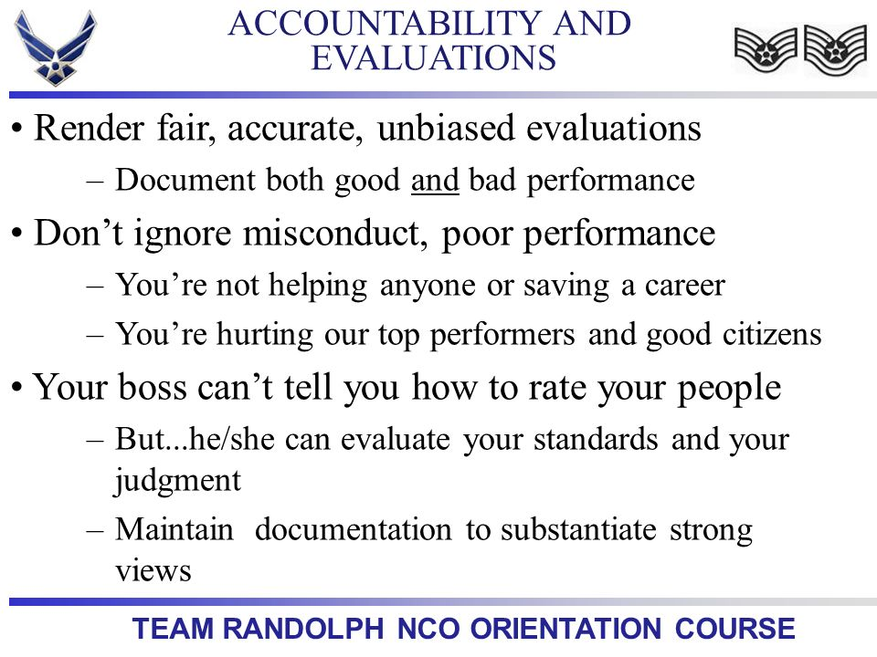 ACCOUNTABILITY AND EVALUATIONS