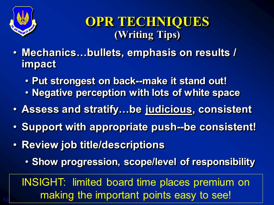 OPR TECHNIQUES (Writing Tips)