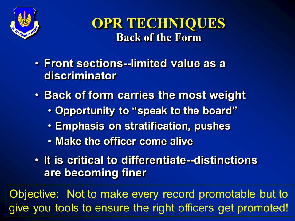 OPR TECHNIQUES Back of the Form