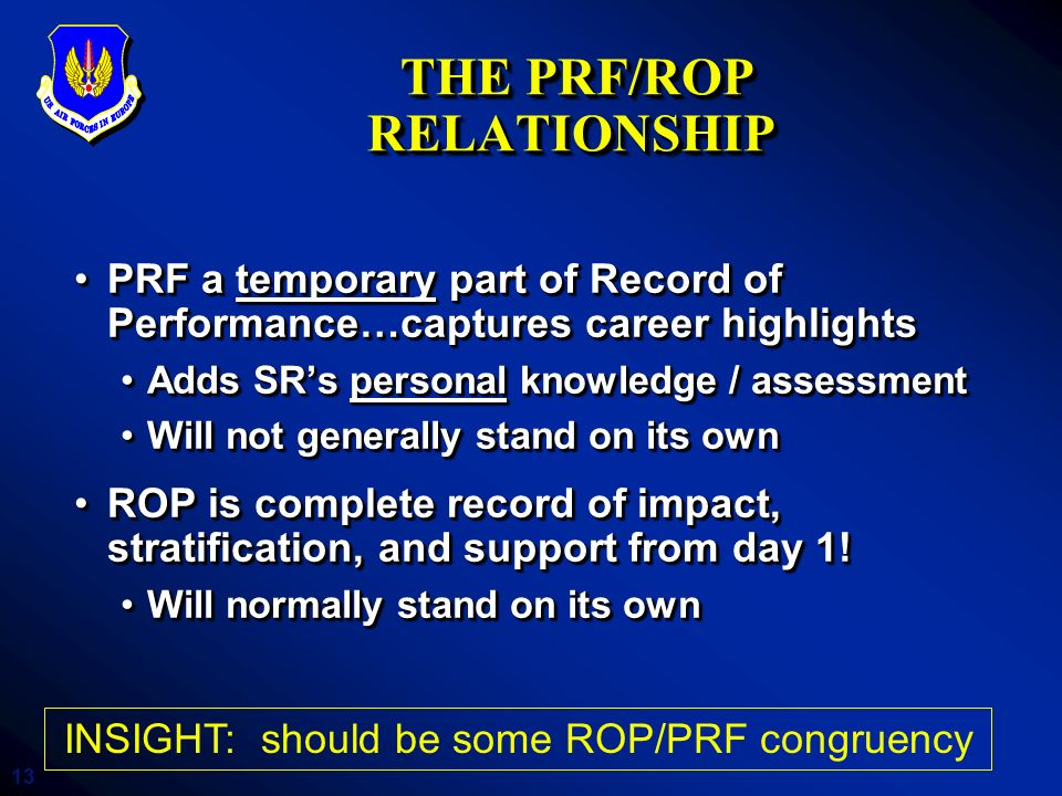 THE PRF/ROP RELATIONSHIP