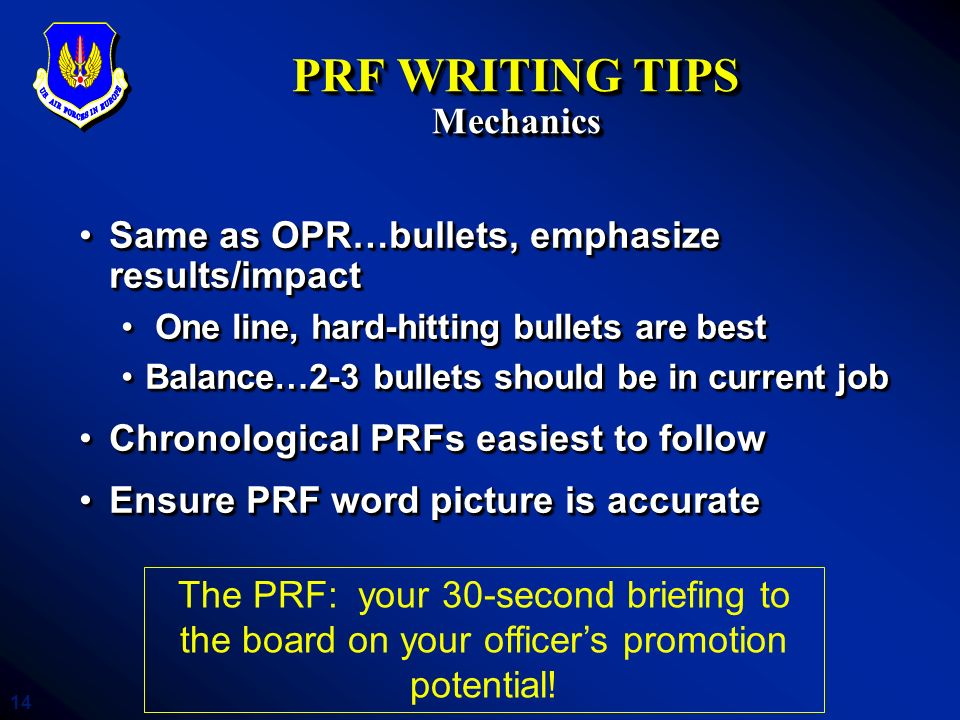 PRF WRITING TIPS Mechanics