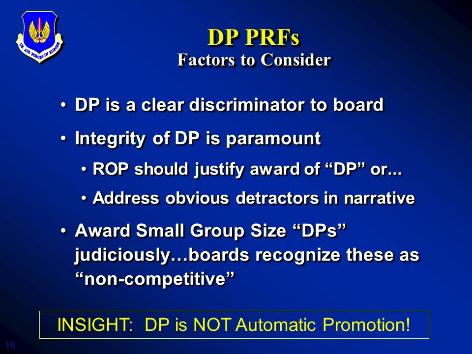 DP PRFs Factors to Consider
