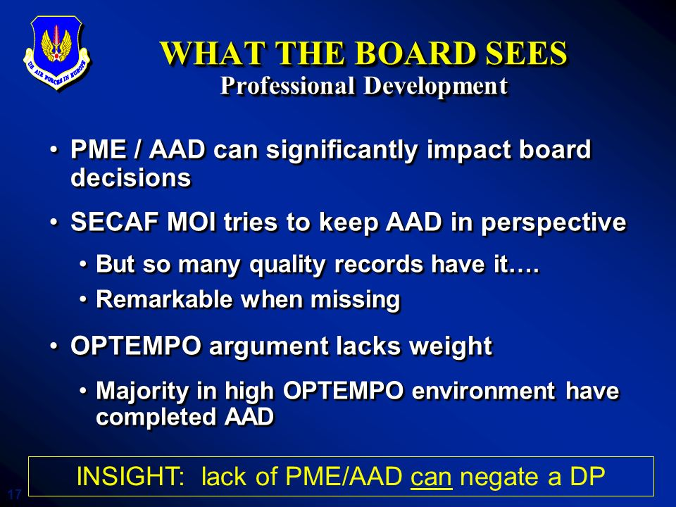 WHAT THE BOARD SEES Professional Development