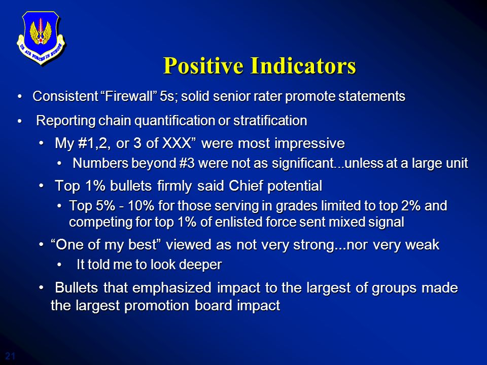 Positive Indicators My #1,2, or 3 of XXX were most impressive