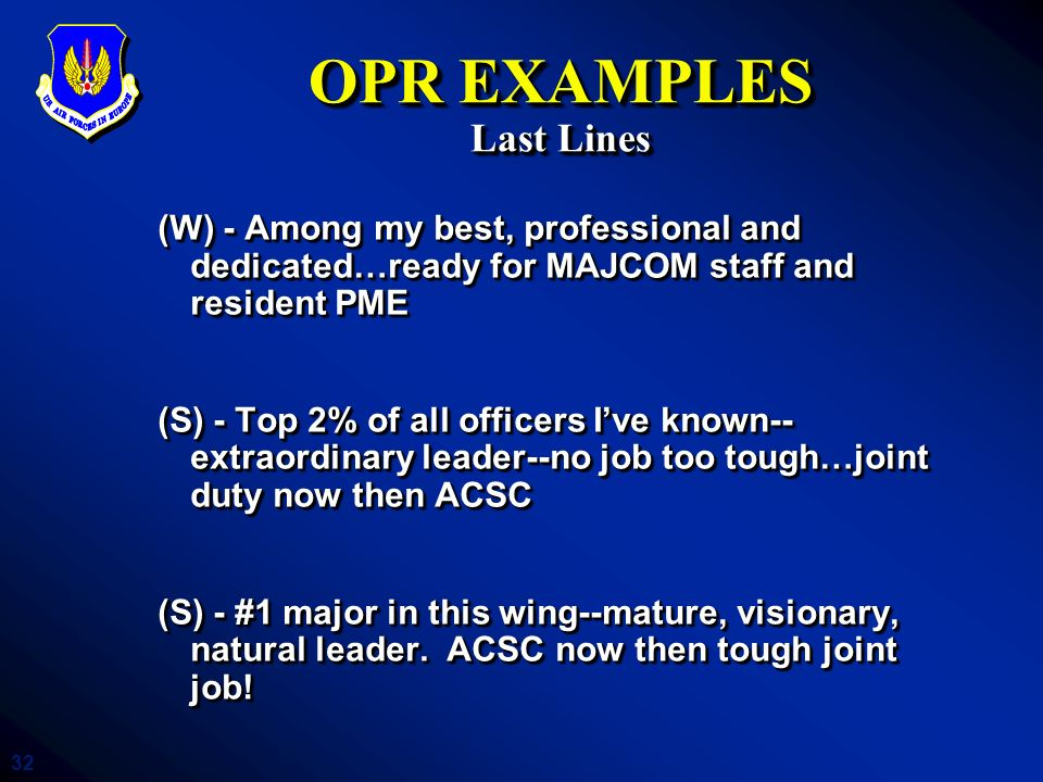 OPR EXAMPLES Last Lines