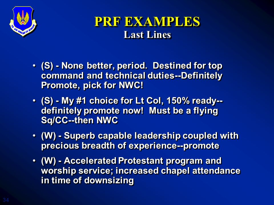 PRF EXAMPLES Last Lines