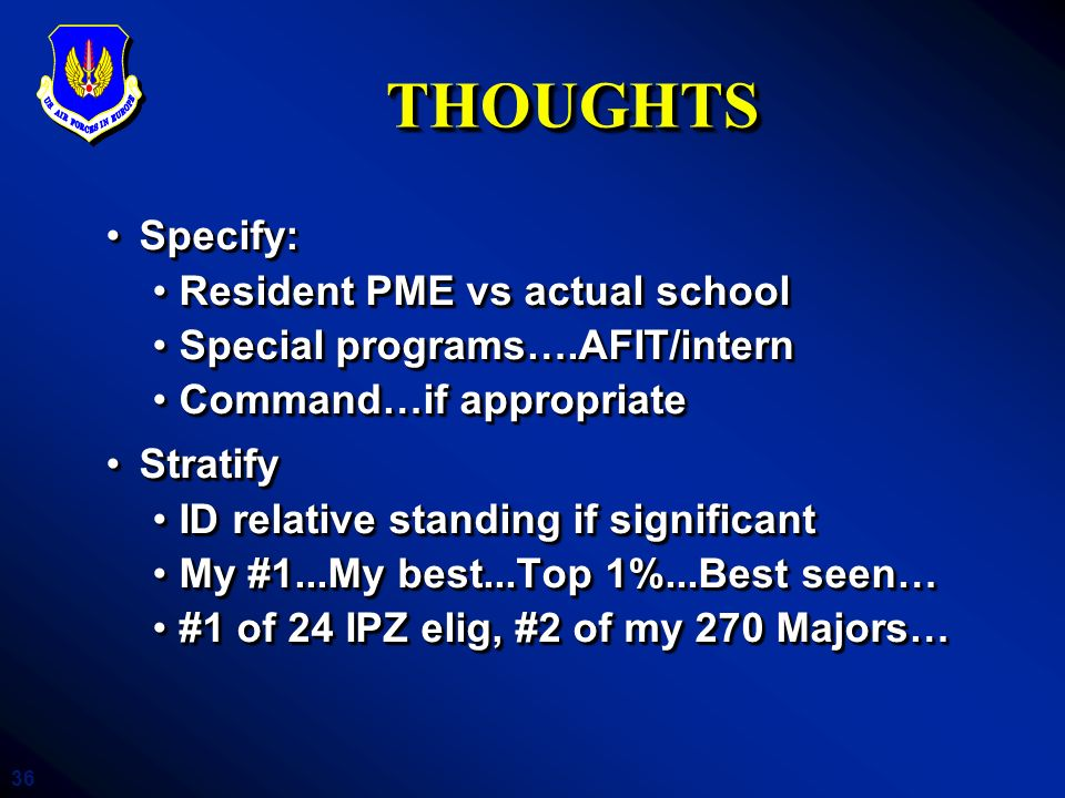 THOUGHTS Specify: Resident PME vs actual school