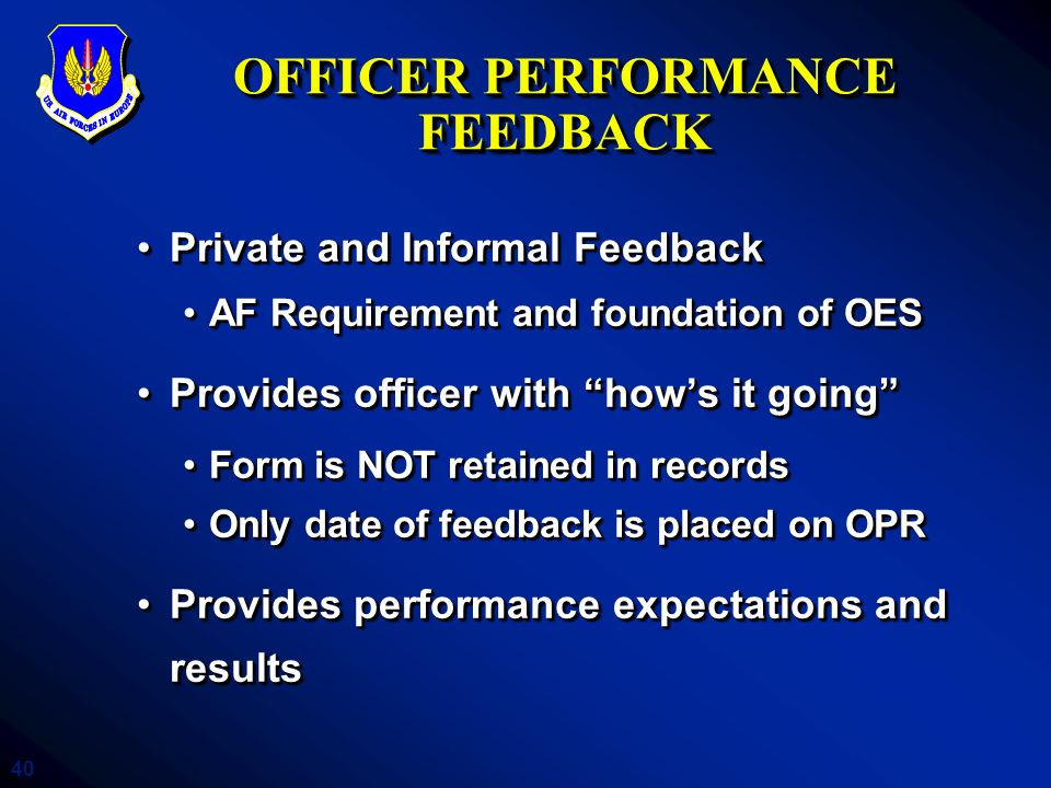 OFFICER PERFORMANCE FEEDBACK