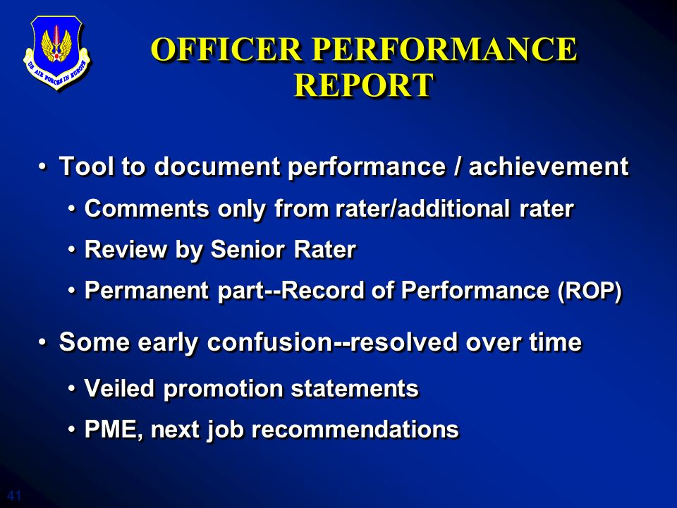 OFFICER PERFORMANCE REPORT