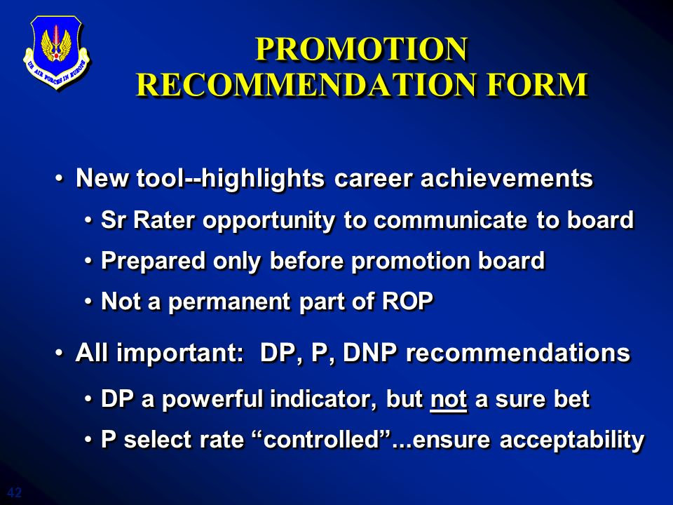 PROMOTION RECOMMENDATION FORM