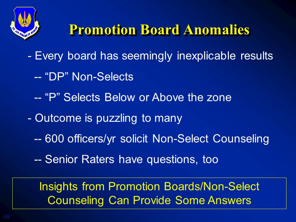 Promotion Board Anomalies