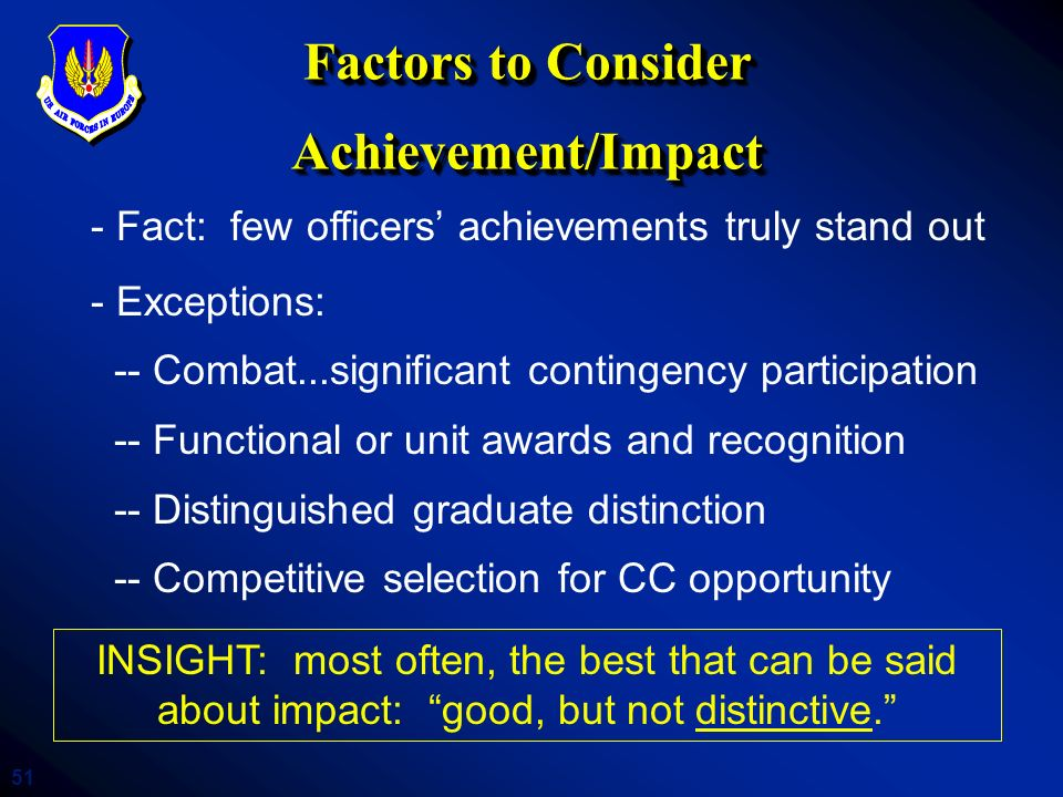Factors to Consider Achievement/Impact