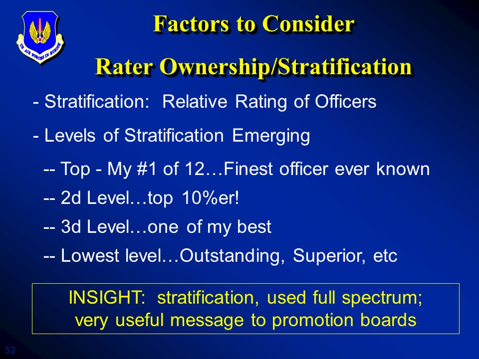 Factors to Consider Rater Ownership/Stratification