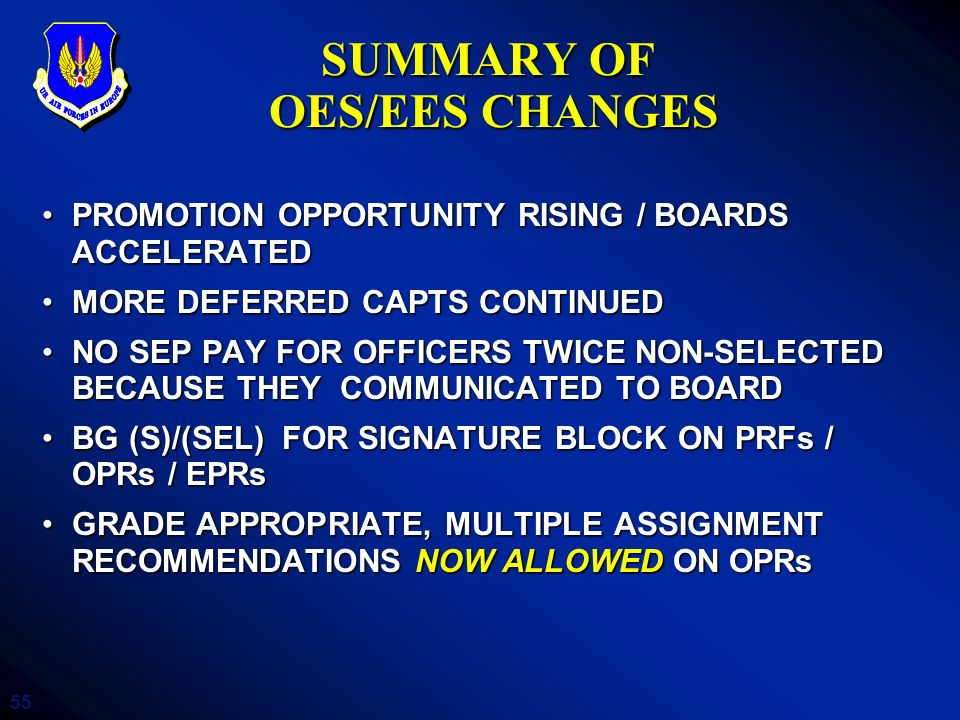 SUMMARY OF OES/EES CHANGES