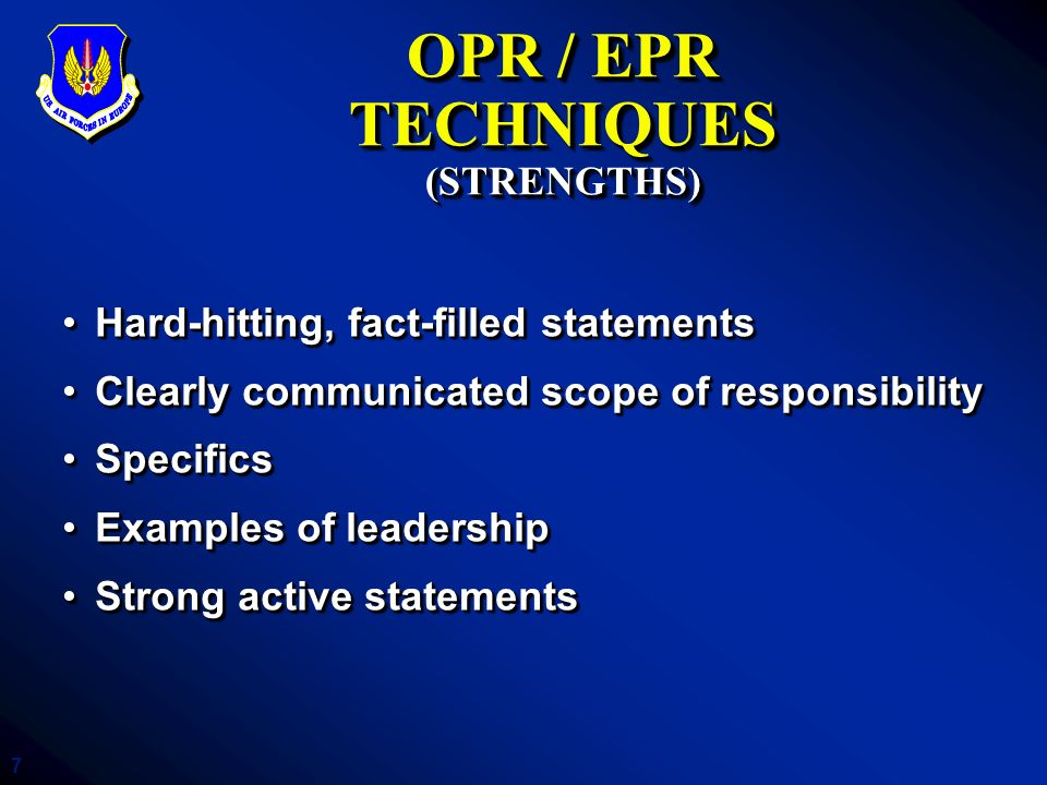 OPR / EPR TECHNIQUES (STRENGTHS)