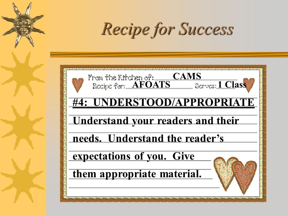 Recipe for Success AFOATS. CAMS. 1 Class.