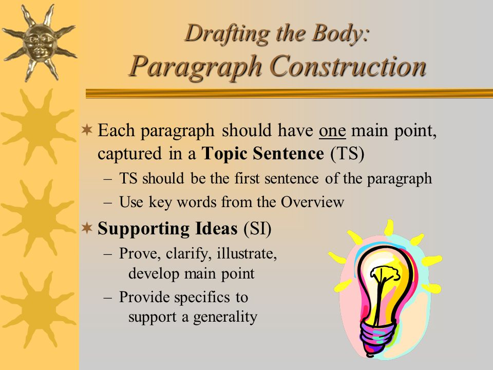 Drafting the Body: Paragraph Construction