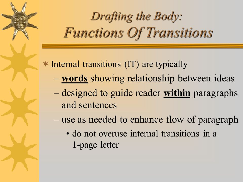 Drafting the Body: Functions Of Transitions