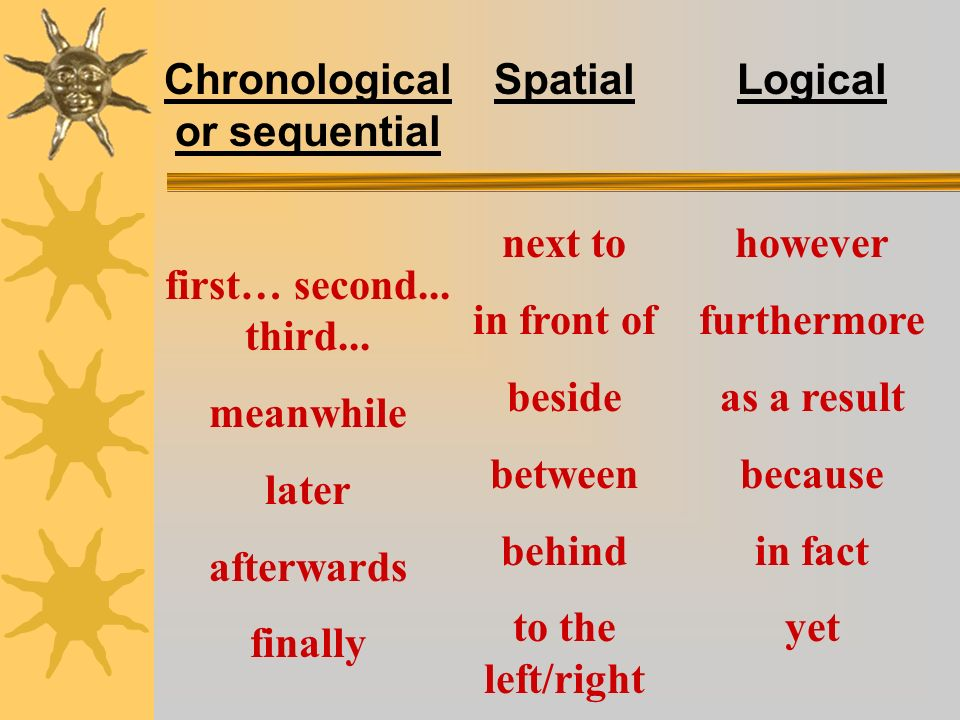 Chronological or sequential