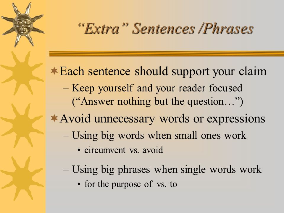 Extra Sentences /Phrases