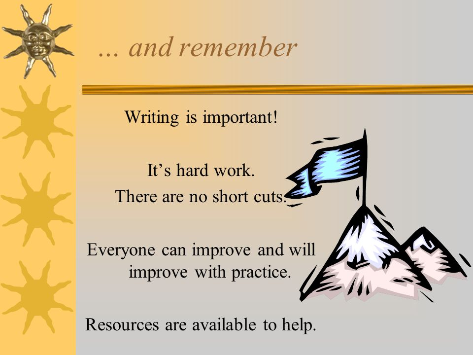 … and remember Writing is important! It's hard work.